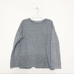 Zara Gray Knit Crewneck Sweater